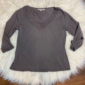 Boden v neck top sz 10 100% cotton 3/4 sleeve